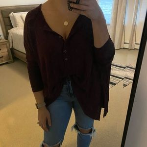 Free people maroon button up top